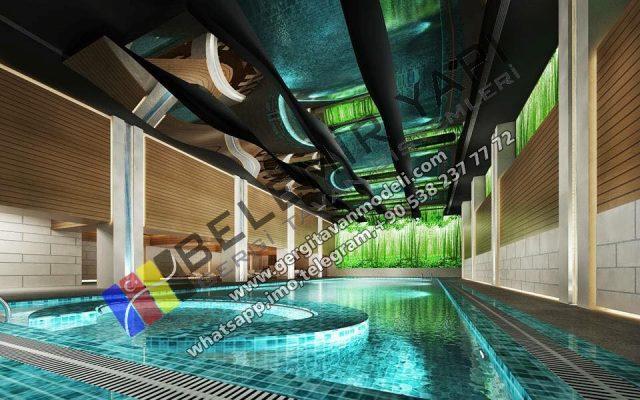 pool miror design decoration, pool lako ceiling, pool design, pool decoration, pool stretch ceiling, hotel pool decoration