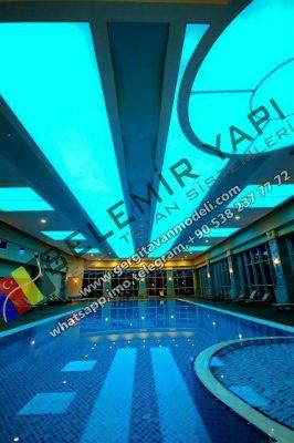 Pool Design, Pool Decoration, Pool Stretch Ceiling, Pool lighting. Modern Pool