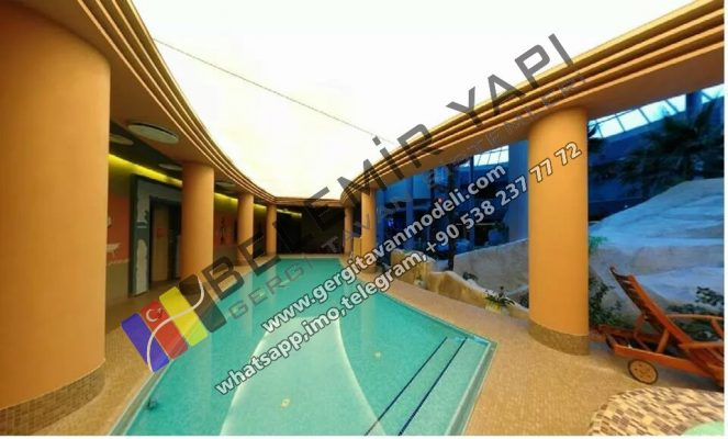 Gergi Tavan (barrisol) olimpik yüzme havuz dekorasyonu aydınlatma, havuz modelleri, havuz görselleri