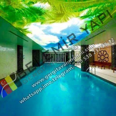 otel havuz modelleri, otel havuz dekorasyonu aydınlatma, havuz gergi tavan, aydınlatma, barrisol,lighting, modern havuz, gökyüzü gergi tavan havuz modelleri