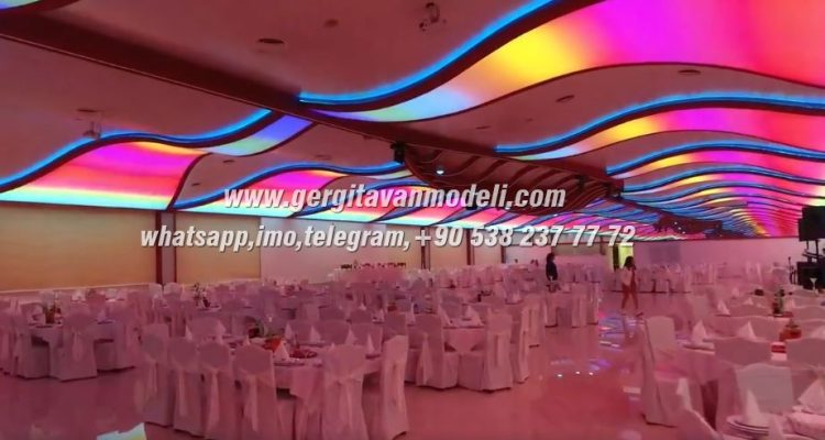 wedding decor, wedding hall design, wedding hall lighting, modern wedding hall, 3d wedding hall, wedding hall stretch ceiling systems, wedding hall barrisol