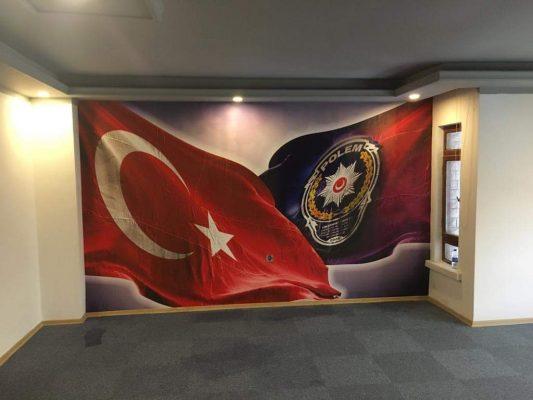 Duvar Kağıdı, 3D wallpaper design, 3d Duvar Kağıdı -1 Türk Bayragı, polis teşkilatı duvar kagıdı
