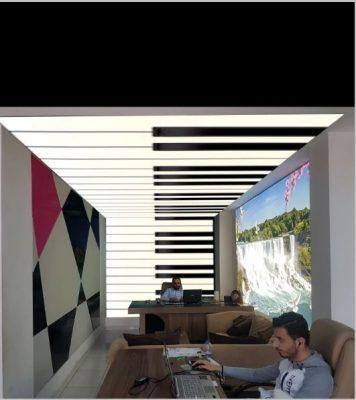 barrisol, gergi tavan, fuar dekorasyonu, fuar aydınlatması, fuar standı